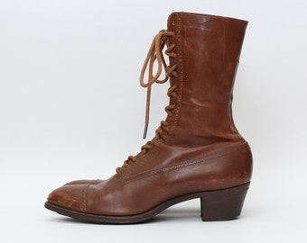 Antique Edwardian Leather Lace Up Boots - Vintage Early 1900s Women's Boots by T. E. Moseley Co.