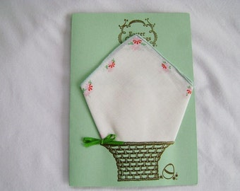 Easter Greeting Card, Easter Handkerchief Card, Handmade Greeting Card