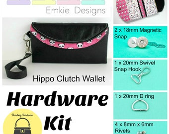 The Hippo Clutch Wallet - Emkie Designs -  Hardware Kit