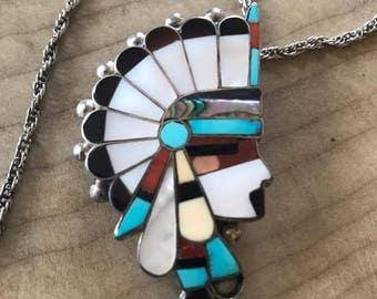 Vintage Sterling Navajo Zuni Necklace/Brooch