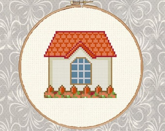 Vintage House PDF Cross Stitch Pattern+Easy Cross Stitch Pattern