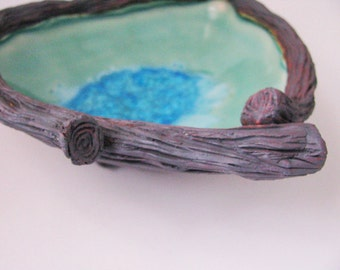 water pool dish / glass fused ceramic bowl by Echo of Nature by Yumiko Goto