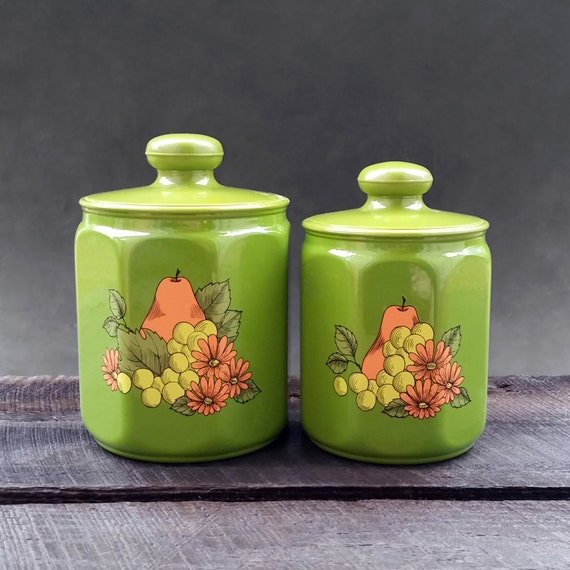 green kitchen canisters flour coffee tea vintage kromax