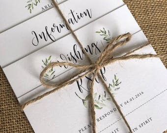 Vintage Wreath Wedding Invitations