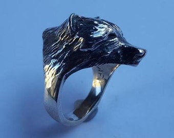 Sterling Silver Grizzly Bear Ring W4