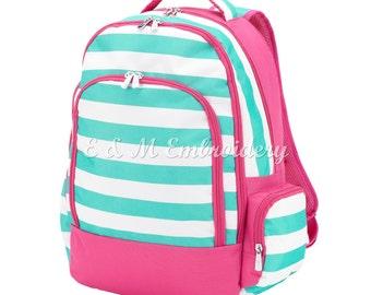 Monogrammed Mint Stripe Backpack