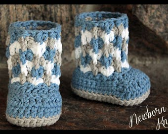 Crochet Pattern for Boys or Girls Cable Link Shells Booties. Pattern number 047. Instant Download