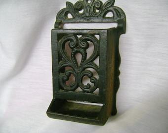 Cast Iron Matchbox Holder Vintage Wall Mount