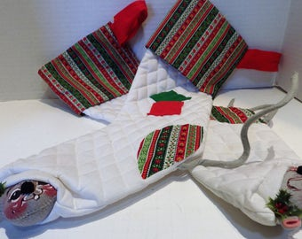 1969 Two Vintage 1969 Annalee Mouse Christmas Stocking Mobilitee Dolls Quilted