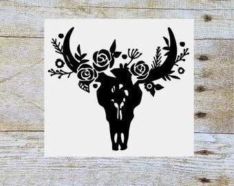 Steer skull floral decal, floral cow skull, flower bull skull, yeti decal, tumbler decal, tumbler cup decal, cow skull decal, vinyl decal