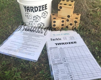 Yard Dice/Yardzee, Farkle, Bunco and Cooties Games/6 Wood Dice/Yard Games/Outdoor Games