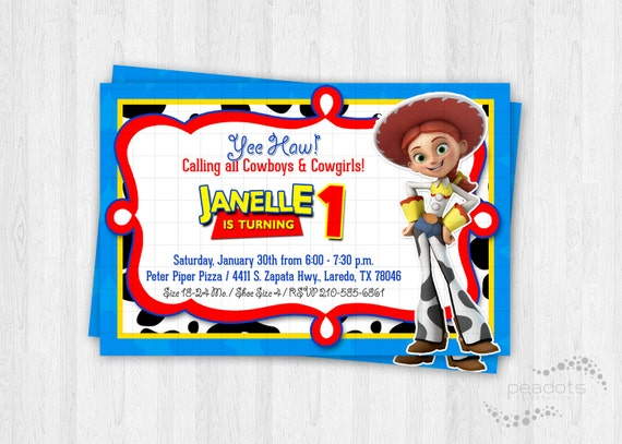 jessie cowgirl toy story invitations by peadots catch my party