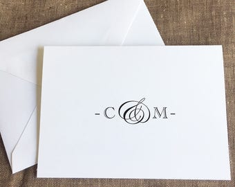 Monogrammed Folded Notes Cards, Ampersand Monogram Personalized Stationery, Formal Wedding Stationary, Thank You Notes, set of 10