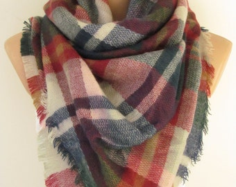 Blanket Plaid Scarf Tartan Scarf Oversized Soft Scarf Thick Women Pashmina Poncho Shawl Stoles Warm Scarf Fall Winter Fashion Christmas Gift