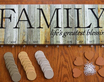 Rustic Wood Look Family Blessing Birthday Board Kit