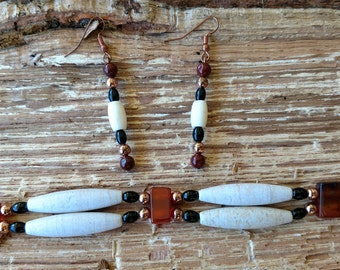 choker obsidian, carnelian and Marble gemstone