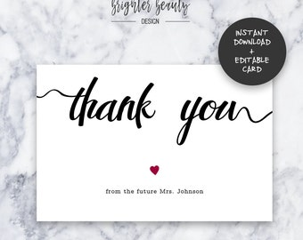 Simple Thank You Card | INSTANT DOWNLOAD | Do It Yourself | Printable