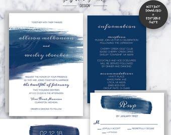 Navy Watercolor Wedding Invitation Suite | INSTANT DOWNLOAD | Editable PDF| Do It Yourself | Printable
