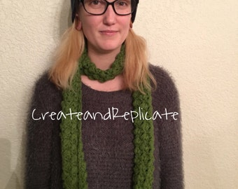 Green Crochet Scarf