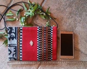 Purse pocket kilim carpet fabric, Berber, Smartphone IPhone cover tray, ethnic little bag,boho , wholesale,original,with Fatima metal hand