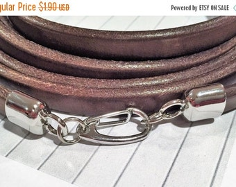 Platinum plated Clasp with Self Closing Lobster Clasp, Mini Regaliz Half Round leather finding, leather supplies,
