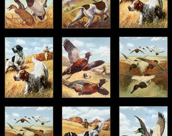 Sports Afield Duck Hunting 100% Cotton Fabric Panel 8400 Black by Elizabeth's Studio! [Sold by the Panel]
