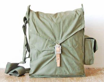 Vintage Military Canvas Handbag, Messenger Cross Body Bag, Army Green Canvas Bag, Gas Mask Bag