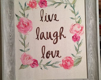 Frame and Canvas Floral Live Laugh Love