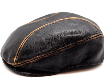 Genuine Leather Brown Gatsby Cabbie Flat Driver Ivy Golf Ascot Hat Cap JTC
