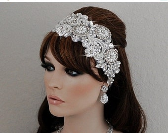 Bridal Headpiece Wedding Crystal Hair Accessories Accessory Crystal Headband Beaded Headpiece  Beaded White Lace Hair Band Jewelry