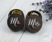 Mr. and Mrs. Wood Wedding Ring Box | Custom | Rustic | Shabby | Gold | Rose Gold | Silver | Stained | Alternative Ring Bearer Pillow