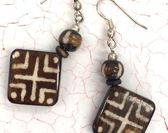 Tribal Earrings Ethnic Earrings Ebony Wood African Jewelry Dangle Wires