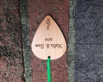 Wooden Guitar Pick Ornament