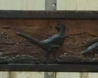 Rustic Carved Fireplace Mantel Reclaimed Barn Wood Beam with Pheasant Hunt Scene
