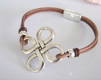 Brown Leather Cord Infinity Knot Bracelet- R6225