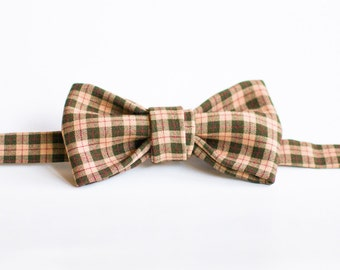 Handmade Bow Tie - Brown Check