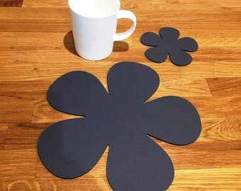 Daisy Shaped Placemats or Placemats & Coasters - in Graphite Grey Matt Finish Acrylic 3mm