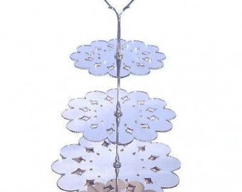 Doily Shaped Three Tier Silver Rod Acrylic Cup Cake / High Tea Cake Stand - In Various Sizes and Colours