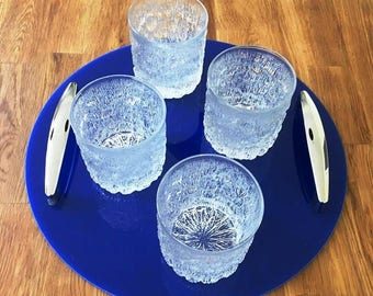 """Round Serving Tray with Chrome Handles in Blue Gloss Finish 3mm Thick & Rubber Feet. Size 32cm, 12.5"""""""