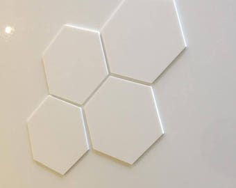 "White Gloss Acrylic Hexagon Crafting Mosaic & Wall Tiles, Sizes: 1cm to 20cm - 1"" to 7.9"""