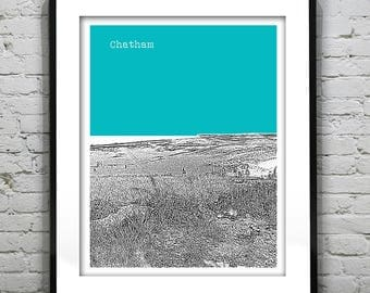 1 Day Only Sale 10% Off - Chatham Cape Cod Skyline Poster Art Print  Massachusetts MA Version 5
