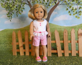 American Girl fitting doll shorts and top - made for American Girl doll or similar 18 inch doll