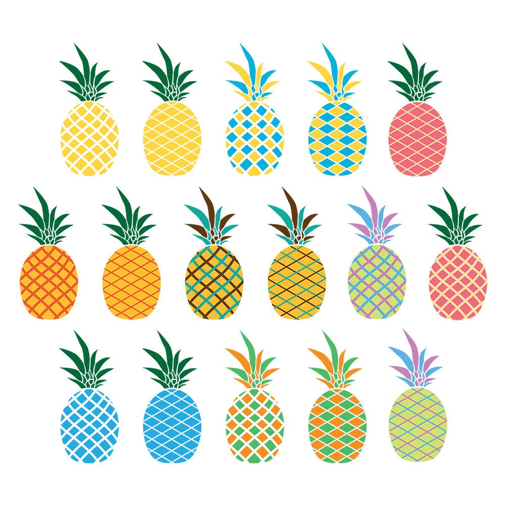 16 Pineapples Clipart, Pineapple Graphics, Summer Clipart ...