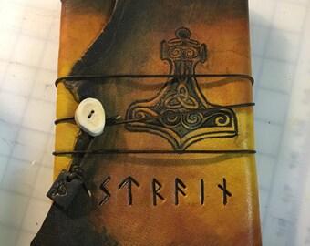 Leather Viking Journal, Viking Book, Thor's Journal, Thor's Hammer Book, 6x9 Handmade Journal, Viking Gift, Norse Journal, Leather Journal
