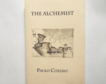 THE ALCHEMIST Personalized Paulo Coelho Book Dust Jacket Custom Made Minimalistic Cover Art Collection Quote Drawing Library Bookshelve