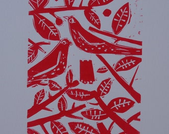 Blackbirds  Limited Edition Lino Print