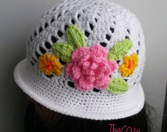 Spring Crochet baby girl Hat, baby shower Cloche baby hat, newborn hat, hat with pink flower