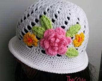 Spring Crochet baby girl Hat, baby shower Cloche baby hat, newborn hat, hat with pink flower