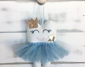 NEW!! Personalized Tutu Tooth Fairy Pillow with Glitter Crown or Bow, personalized on the pocket and new addition magic wand! choose your co