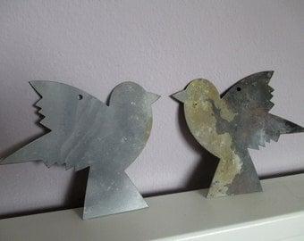 "metal decoration, tree ornament ""birdies"", Set of 2"